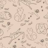 Διανυσματικό σχέδιο με τις γάτες Στοκ εικόνα με δικαίωμα ελεύθερης χρήσης