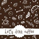Διανυσματικό σχέδιο με τον καφέ, τα κέικ και τα γλυκά Στοκ Φωτογραφία