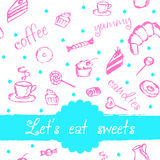Διανυσματικό σχέδιο με τον καφέ, τα κέικ και τα γλυκά Στοκ Φωτογραφίες
