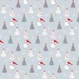 Διανυσματικό σχέδιο με τους χιονανθρώπους και τα χριστουγεννιάτικα δέντρα Στοκ Εικόνες
