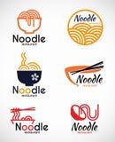 Διανυσματικό σχέδιο λογότυπων εστιατορίων και τροφίμων νουντλς απεικόνιση αποθεμάτων