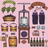 Διανυσματικό σχέδιο οινοποίησης έγχρωμων εικονογραφήσεων κρασιού Στοκ Εικόνες