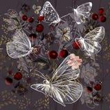 Διανυσματικό σχέδιο λουλουδιών με τις εγκαταστάσεις και τις πεταλούδες απεικόνιση αποθεμάτων