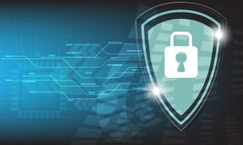 Διανυσματικό σχέδιο σκαφών μικροϋπολογιστών τεχνολογικής ασφαλείας στο μπλε υπόβαθρο Στοκ Εικόνες