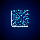 Διανυσματικό σχέδιο τεχνολογίας ΚΜΕ με το τετραγωνικό μπλε luminescent microp Στοκ φωτογραφία με δικαίωμα ελεύθερης χρήσης
