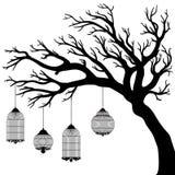 Διανυσματικό σχέδιο του δέντρου με τα κλουβιά Στοκ Φωτογραφίες