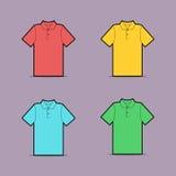 Διανυσματικό σχέδιο του πολύχρωμου πουκάμισου πόλο Διανυσματική απεικόνιση