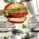 Διανυσματικό σχέδιο τροφίμων με τα χάμπουργκερ και τις κούπες Στοκ Εικόνα