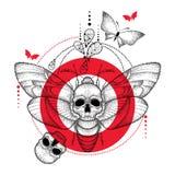 Διανυσματικό σχέδιο των διαστιγμένων μαύρων atropos σκώρων ή Acherontia γερακιών θανάτου ` s επικεφαλής, κόκκινοι κύκλος και κραν Στοκ Εικόνα