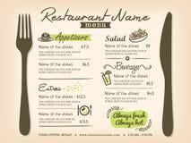 Διανυσματικό σχεδιάγραμμα σχεδίου επιλογών Placemat εστιατορίων Στοκ Φωτογραφίες