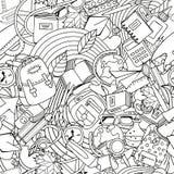 Διανυσματικό σχολικό άνευ ραφής σχέδιο τέχνης γραμμών Μονοχρωματικές προμήθειες εκπαίδευσης και σχολείων doodle Στοκ Φωτογραφίες