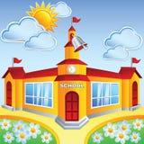 Διανυσματικό σχολικό κτίριο κινούμενων σχεδίων Στοκ εικόνα με δικαίωμα ελεύθερης χρήσης