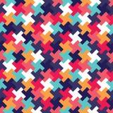 Διανυσματικό σύγχρονο άνευ ραφής ζωηρόχρωμο σχέδιο γρίφων γεωμετρίας, περίληψη χρώματος Στοκ εικόνα με δικαίωμα ελεύθερης χρήσης