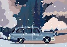 Διανυσματικό σύγχρονο αναδρομικό αυτοκίνητο Επίπεδο σχέδιο τουρισμού Στοκ φωτογραφίες με δικαίωμα ελεύθερης χρήσης