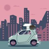 Διανυσματικό σύγχρονο αναδρομικό αυτοκίνητο Επίπεδο σχέδιο τουρισμού ταξίδι παιχνιδιών χαρτών της Ευρώπης αυτοκινήτων Στοκ φωτογραφία με δικαίωμα ελεύθερης χρήσης