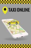 Διανυσματικό σύγχρονο επίπεδο ταξί σε απευθείας σύνδεση app Στοκ Φωτογραφίες