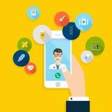 Διανυσματικό σύγχρονο δημιουργικό επίπεδο σχέδιο που κρατά σε διαθεσιμότητα το κινητό τηλέφωνο απεικόνιση αποθεμάτων