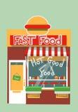 Διανυσματικό σύγχρονο κατάστημα γρήγορου φαγητού Στοκ εικόνα με δικαίωμα ελεύθερης χρήσης