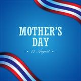 Διανυσματικό σύγχρονο σχέδιο ημέρας μητέρων και έμβλημα σημαιών της Ταϊλάνδης Στοκ φωτογραφία με δικαίωμα ελεύθερης χρήσης