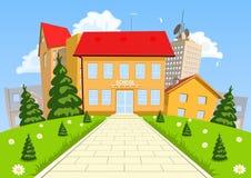 Διανυσματικό σύγχρονο σχολικό κτίριο κινούμενων σχεδίων ελεύθερη απεικόνιση δικαιώματος