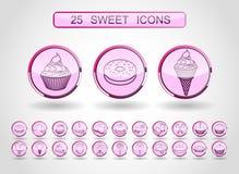 Διανυσματικό σύγχρονο σύνολο εικονιδίων ύφους γραμμών γλυκών και προϊόντων καραμελών ελεύθερη απεικόνιση δικαιώματος