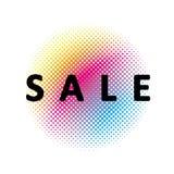 Διανυσματικό σύμβολο πώλησης Ημίτονος κύκλος ουράνιων τόξων κατωτέρω Άσπρη ανασκόπηση Κύκλος φιαγμένος από σημεία Μαύρο κείμενο διανυσματική απεικόνιση