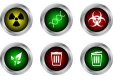 Διανυσματικό σύμβολο κουμπιών, ραδιενεργό, DNA, biohazard, οικολογία, clos δοχείων Στοκ Εικόνες