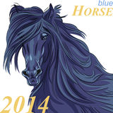 Διανυσματικό σύμβολο του νέου μπλε αλόγου έτους απεικόνιση αποθεμάτων
