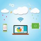 Διανυσματικό σύννεφο που υπολογίζει στο smartphone σας, lap-top ελεύθερη απεικόνιση δικαιώματος
