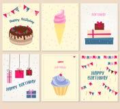 Διανυσματικό σύνολο έξι ευχετήριων καρτών γενεθλίων Στοκ Εικόνες