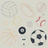 Διανυσματικό σύνολο αθλητικών σφαιρών Συρμένο χέρι σκίτσο απεικόνιση αποθεμάτων