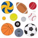 Διανυσματικό σύνολο αθλητικών σφαιρών Συρμένο χέρι χρωματισμένο σκίτσο η ανασκόπηση απομόνωσε το λευκό διανυσματική απεικόνιση