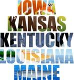 Διανυσματικό σύνολο αμερικανικής κρατικής λέξης με τα ζώα - Αϊόβα, Κάνσας, Κεντάκυ, Λουιζιάνα, Μαίην απεικόνιση αποθεμάτων