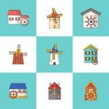 Διανυσματικό σύνολο ανεμόμυλων και watermills εικονιδίων που απομονώνονται στο υπόβαθρο στοκ φωτογραφία με δικαίωμα ελεύθερης χρήσης