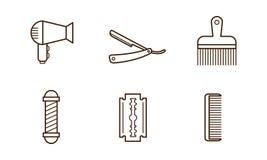Διανυσματικό σύνολο αντικειμένων barbershop Στεγνωτήρας τρίχας, λεπίδα, χτένα, χειρωνακτικοί ξυράφι και πόλος κουρέων εικονίδια γ διανυσματική απεικόνιση
