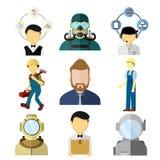 Διανυσματικό σύνολο απεικόνισης διάφορων εργαζομένων απεικόνιση αποθεμάτων