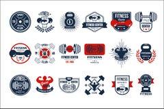 Διανυσματικό σύνολο αρχικών προτύπων λογότυπων γυμναστικής Εμβλήματα με τις σκιαγραφίες των bodybuilders, αλτήρες και barbells γι διανυσματική απεικόνιση