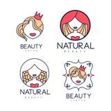 Διανυσματικό σύνολο αφηρημένων λογότυπων για την ομορφιά ή το κομμωτήριο Γραμμικές ετικέτες για τα φυσικά καλλυντικά Γεωμετρικά ε Στοκ Εικόνες