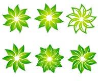 Διανυσματικό σύνολο αφηρημένων πράσινων προτύπων σχεδίου λογότυπων - εμβλήματα για τα ολιστικά κέντρα ιατρικής, κατηγορίες γιόγκα ελεύθερη απεικόνιση δικαιώματος