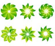 Διανυσματικό σύνολο αφηρημένων πράσινων προτύπων σχεδίου λογότυπων - εμβλήματα για τα ολιστικά κέντρα ιατρικής, κατηγορίες γιόγκα απεικόνιση αποθεμάτων