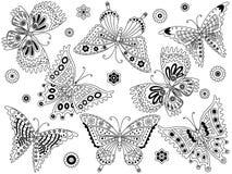 Διανυσματικό σύνολο γραπτών πεταλούδων Στοκ φωτογραφία με δικαίωμα ελεύθερης χρήσης