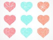 Διανυσματικό σύνολο διακοσμητικών καρδιών με το floral και αφηρημένο σχέδιο Στοκ Εικόνες