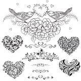 Διανυσματικό σύνολο διακοσμητικών καρδιών, σύντομο χρονογράφημα, εκλεκτής ποιότητας διακοσμητική EL Στοκ Φωτογραφία