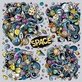 Διανυσματικό σύνολο διαστημικών συνδυασμών αντικειμένων και στοιχείων Στοκ Εικόνες