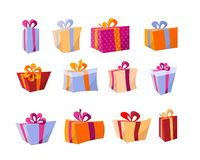 Διανυσματικό σύνολο διαφορετικών ζωηρόχρωμων κιβωτίων δώρων Όμορφο παρόν κιβώτιο με το συντριπτικό τόξο Κιβώτιο δώρων Χριστουγένν διανυσματική απεικόνιση