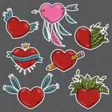Διανυσματικό σύνολο διαφορετικών καρδιών βαλεντίνων αυτοκόλλητων ετικεττών Στοκ Εικόνα