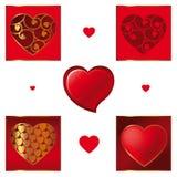 Διανυσματικό σύνολο διαφορετικών καρδιών βαλεντίνων Στοκ Φωτογραφία