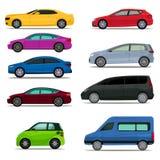 Διανυσματικό σύνολο διαφορετικών τύπων και πρότυπα των αυτοκινήτων διανυσματική απεικόνιση