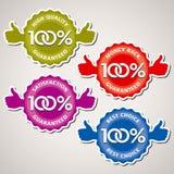 Διανυσματικό σύνολο εγγύησης 100% Στοκ φωτογραφία με δικαίωμα ελεύθερης χρήσης