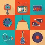 Διανυσματικό σύνολο εικονιδίων απεικόνισης τρόπου ζωής: κάμερα φωτογραφιών, TV, όργανο καταγραφής ταινιών, τηλέφωνο, λαμπτήρας, π απεικόνιση αποθεμάτων